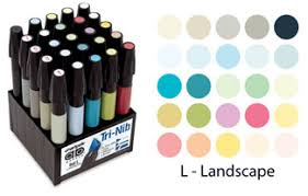 Chartpak Landscape 25 Ad Marker Set Set L