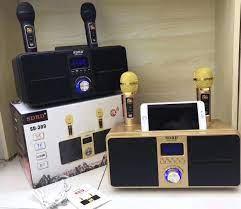 Loa karaoke bluetooth SD 309 - Tặng kèm 2 micro không dây có màn hình LCD -  loa mắt cú cao cấp nhất