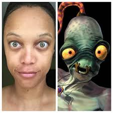 make up free tyra banks looks like abe from oddworld