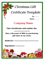 Store Gift Certificate Template 5 Free Christmas Shopping Gift Certificate Templates My Template