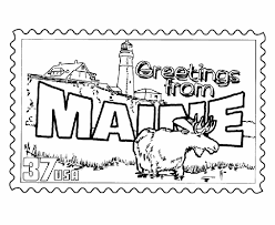 Small Picture Maine State Stamp Coloring Page USA Coloring Pages Pinterest