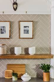 Subway tile in herringbone pattern sabbespot: A Leather District Kitchen