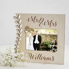mr and mrs personalised wooden wedding frame