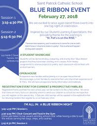 Blue Ribbon 2018 Agenda - St. Pat's Catholic School
