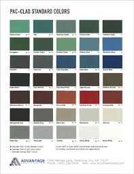 Pac Clad Metal Color Chart Pac Clad Standard Color Chart Advantage Sheet Metal In