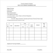 Training Format Schedule Template Word Free – Lrnsprk