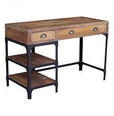 luca reclaimed wood rustic iron loft desk kathy kuo home wood and metal