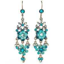 michal negrin flower chandelier earrings blue mix