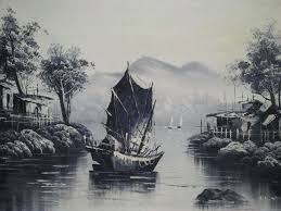 painting oil paint on canvas landscape with chinese junk signed s h nin asia