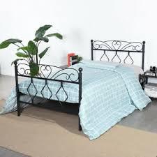 Details about Twin size Black Bed Frame Metal Solid Bed Wood+Metal Platform bed for Kids Girl