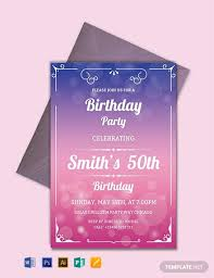 Word Template For Birthday Invitation Free 50th Birthday Invitation Template Word Psd