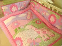 New Pink Giraffe Flowers Embroidered Girl Baby Cot Crib Bedding ... & New Girl Baby Cot Bedding Giraffe Flowers Comforter Quilt Crib Sheet Bumper  Bedskirt 4 items Set Adamdwight.com