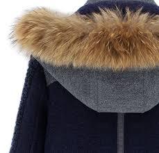 blue contrast grey panel detachable fur hood wool blend coat sheinside com
