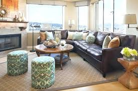 leather sofa family room traditional with accent tables area rug brown couch rugs ethan allen who