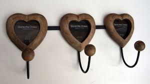 coat rack magnetic photo frame wood wall 3 hooks heart wood shabby chic new