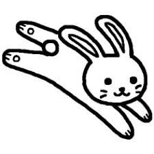 ウサギうさぎ2白黒陸の動物の無料イラストミニカットクリップ
