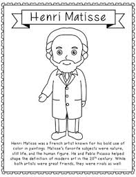Henri Matisse Famous Artist Informational Text Coloring Page Craft