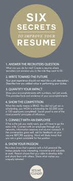 Sshhh Six Secrets To Improve Your Resume By Resume Foundry