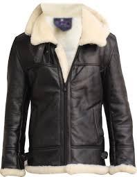 men s aviator raf b3 black hoo sheepskin fur leather er flying jacket front closed without hood