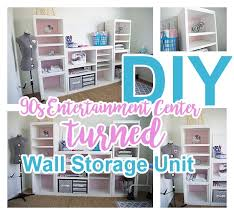 diy 90s entertainment center turned craft room storage organizer wall unit furniture makeover do it