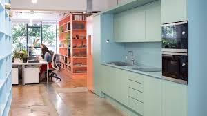 office kitchen furniture. Interrobang Fills Its Office With Custom Plywood Furniture Painted The Colours Of Insulating Foam Kitchen