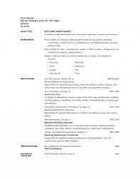 Apartment Maintenance Man Resume Skills Objective Job Description
