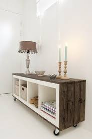 diy ikea furniture. ikea shelf turned on its side u0026 stained wood decking 10 super stylish transformations diy hacks diy ikea furniture