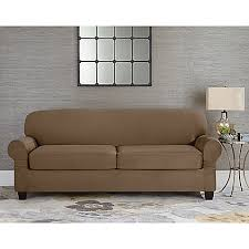 furniture slipcovers. image of sure fit® designer suede individual cushion 2-seat sofa slipcover furniture slipcovers t