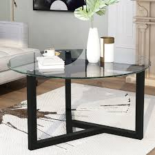 Glass which is a very interesting and special material and the circle which brings everyone together in a. Ebern Designs Round Glass Coffee Table Modern Cocktail Table Easy Assembly Sofa Table For Living Room With Tempered Glass Top Sturdy Wood Base Oak Wayfair