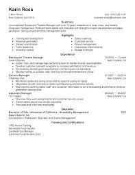 Restaurant General Manager Cover Letter Hospitality Management Cover