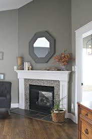 brick wall fireplace makeover cool stacked gray stone veneer come with wooden mantel shelf in espresso