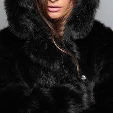 winter women fur jacket fur coat female panda ears hooded women faux fur coat black bear