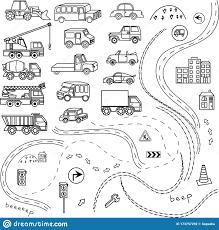 Set Of Car Black And White Cartoon ...