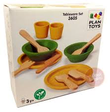 plan toys tableware set new child pretend wooden play