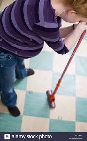 Mopping Kitchen Floor Tired Pregnant Woman Mopping Kitchen Floor Leaning On Mop Stock