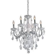 portfolio b10081 6 light polished chrome vintage crystal candle chandelier