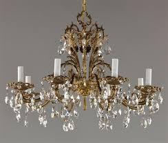 27 spanish brass czech crystal chandelier c1950 vintage antique red gold bronze
