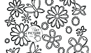 Flowers Coloring Pages Printable Summer And Butterflies Free May
