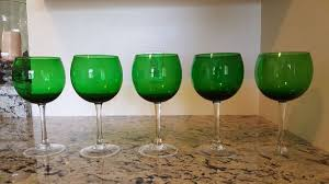 crate and barrel wine glasses green