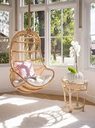 Charming Hanging Chair In Natural Rattan For Bedroom