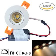 3w dimmable cri 80 200 250lm directional recessed cob led downlight fixture cut out 2 2in 55mm 60 beam angle ceiling led bulb 30w halogen bulbs equivalent