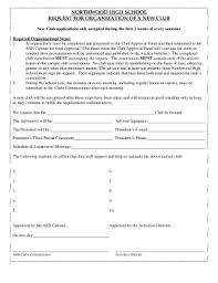 Fillable Online Club Application Form Northwood High