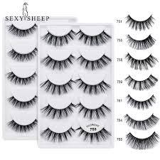 SEXYSHEEP <b>5 pairs</b>/lot Natural false 3D <b>Mink</b> eyelashes Luxurious ...