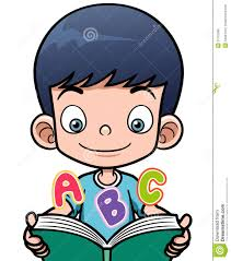 cartoon boy reading a book
