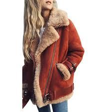 plus size womens lambswool faux fur collar coats leather jacket zipper winter thick female lapel fur