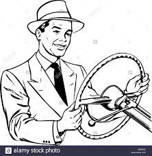 Man driving car retro clipart illustration stock image