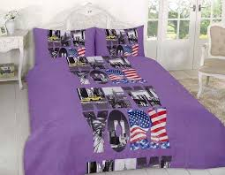new york city purple quilt cover