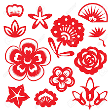 Red Paper Flower Red Paper Cut Flowers China Vector Set Design