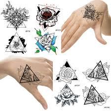Geometric Triangle Flowers Rose Temporary Tattoo Disposable Waterproof Black Tatoos Neck Hands Legs Women Fake Tattoo Stickers