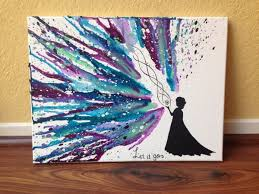 Elsa Silhouette with Let it Go Hand Melted Crayon Art